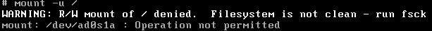 mount -u error message